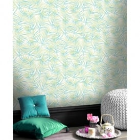Rasch Paradise Palm Leaf Pattern Tropical Floral Motif Metallic Wallpaper 208900