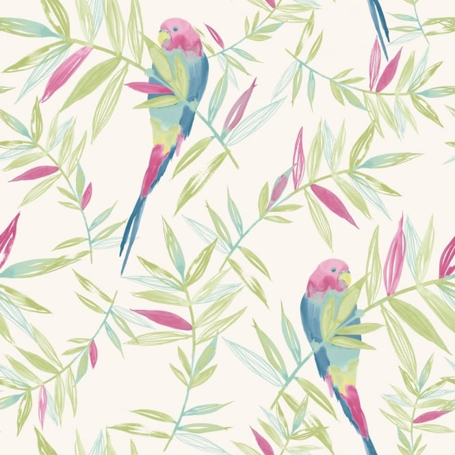 Rasch Parrots Bird Pattern Tropical Leaf Leaves Painted Motif Wallpaper 209204