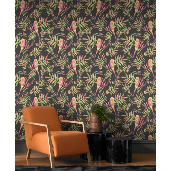 Rasch Parrots Bird Pattern Tropical Leaf Leaves Painted Motif Wallpaper 209211