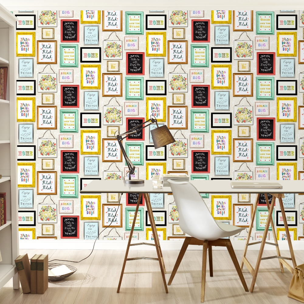 Rasch Picture Photo Frame Pattern Colourful Typography