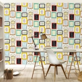 Rasch Picture Photo Frame Pattern Colourful Typography Wallpaper 273403