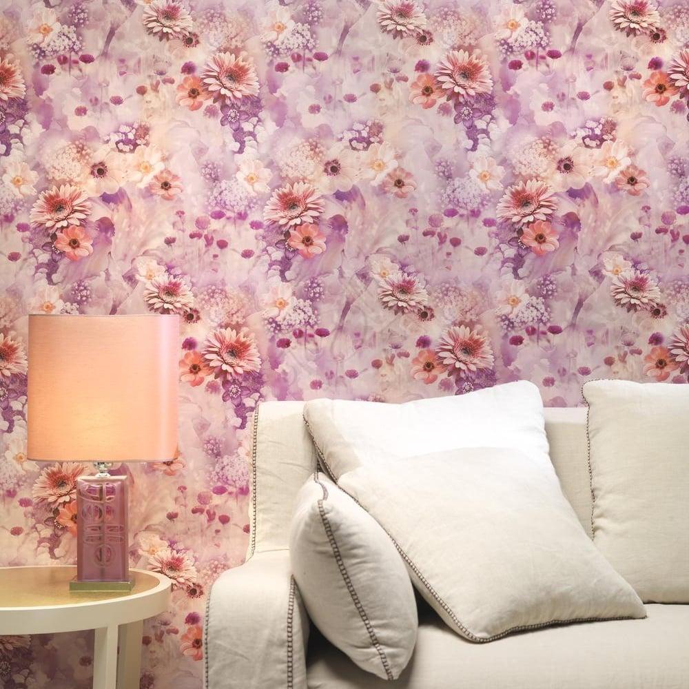 Rasch Rasch Pink Flowers Pattern Wallpaper Floral Rose Garden Motif Embossed 893403