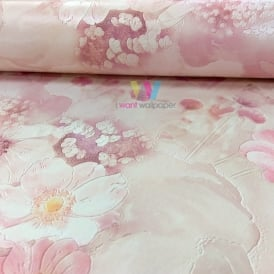 Rasch Pink Flowers Pattern Wallpaper Floral Rose Garden Motif Embossed 893410