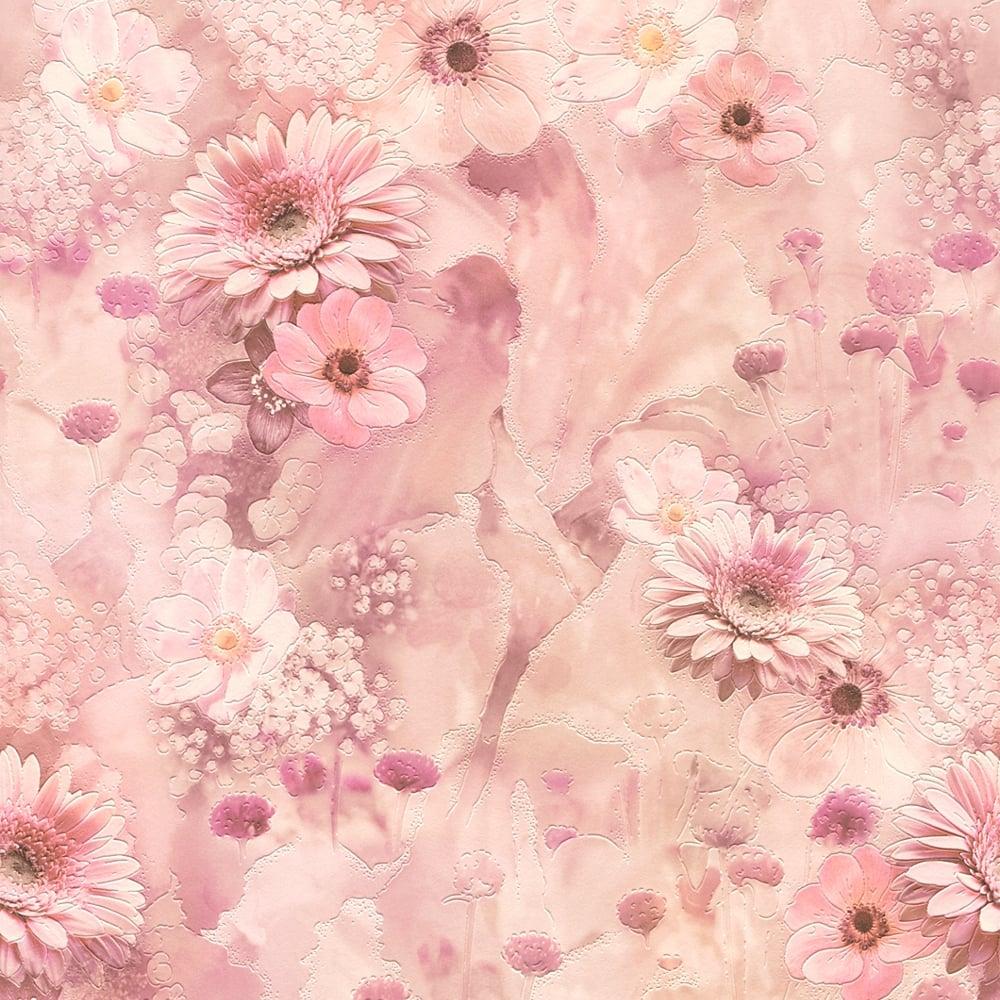 Rasch Pink Flowers Pattern Wallpaper Floral Rose Garden Motif