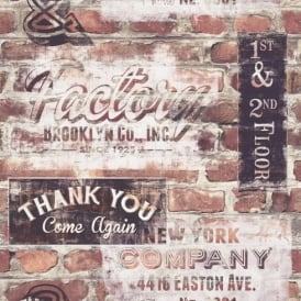 Rasch Portfolio New York Terracotta Red Brick Wall Retro Signs Wallpaper 238600