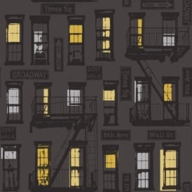 Rasch Portfolio New York Urban Motif Black Charcoal Silver Print Wallpaper 281507