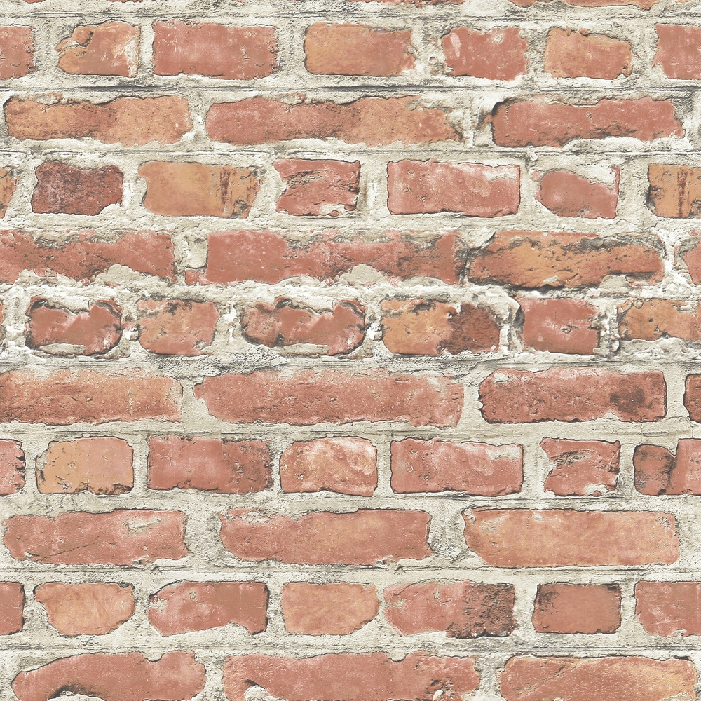 Red Brick Wallpaper Part - 18: Rasch Portfolio Terracotta Red Brick Wall Realistic Print Wallpaper 235203