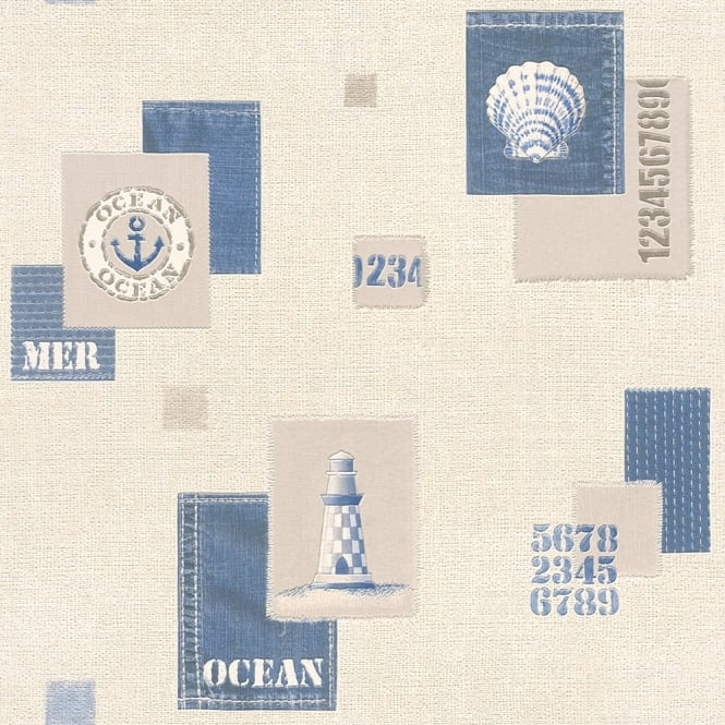 Rasch Aqua Nautical Ocean Motif Lighthouse Sea Shell Embossed Vinyl Wallpaper 853209