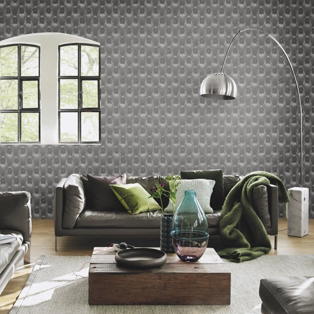 rasch leather diamond pattern wallpaper metallic faux effect 479539. Black Bedroom Furniture Sets. Home Design Ideas
