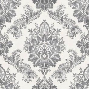 Rasch Bloomsbury Damask Pattern Floral Motif Traditional Metallic Wallpaper 204834