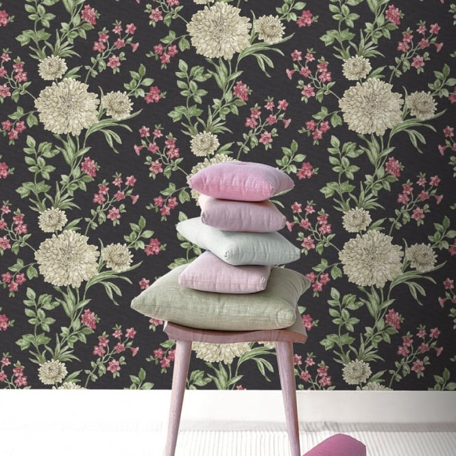 Rasch Bordeaux Flower Pattern Floral Motif Traditional Metallic Wallpaper 208504