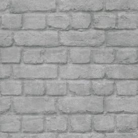 Rasch Brick Stone Wall Realistic Faux Effect Textured Silver Metallic Wallpaper 226751