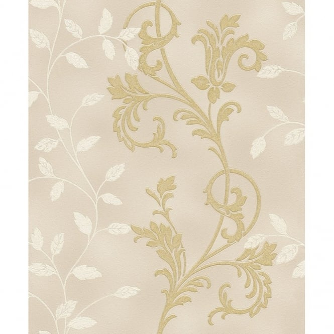 Rasch Diamond Dust Flower Floral Leaf Motif Pattern Textured Metallic Glitter Wallpaper 450552