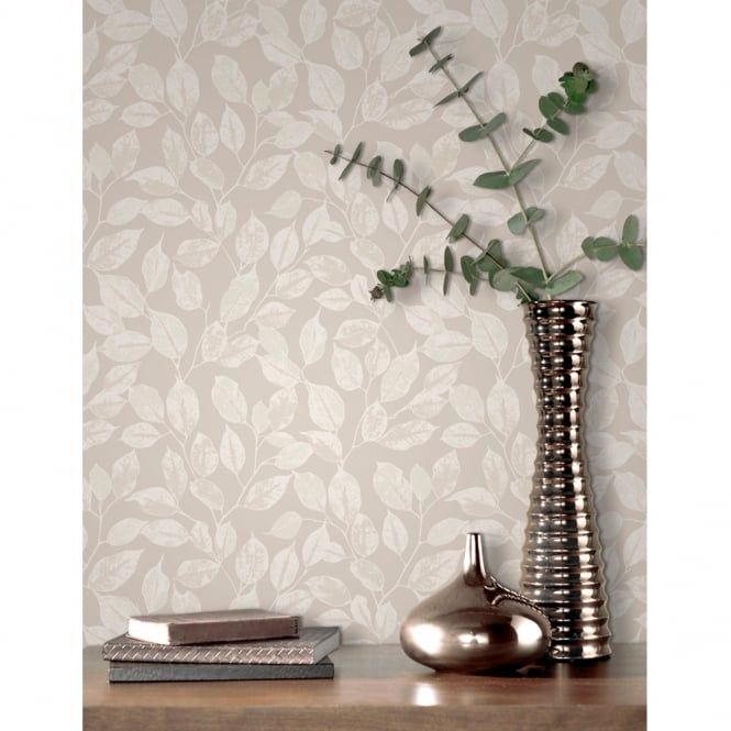 Rasch Leaf Pattern Wallpaper Modern Metallic Silver Leaves Motif 200409