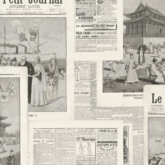 Rasch Newspaper Picture Collage Pattern Vintage French Typography 526516
