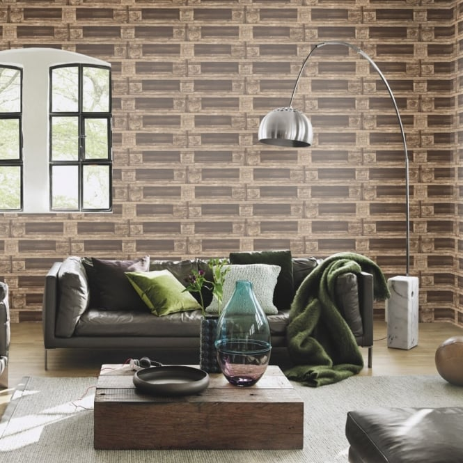 Rasch Pallet Crate Factory Wallpaper Faux Effect Mural Textured Realistic 524116