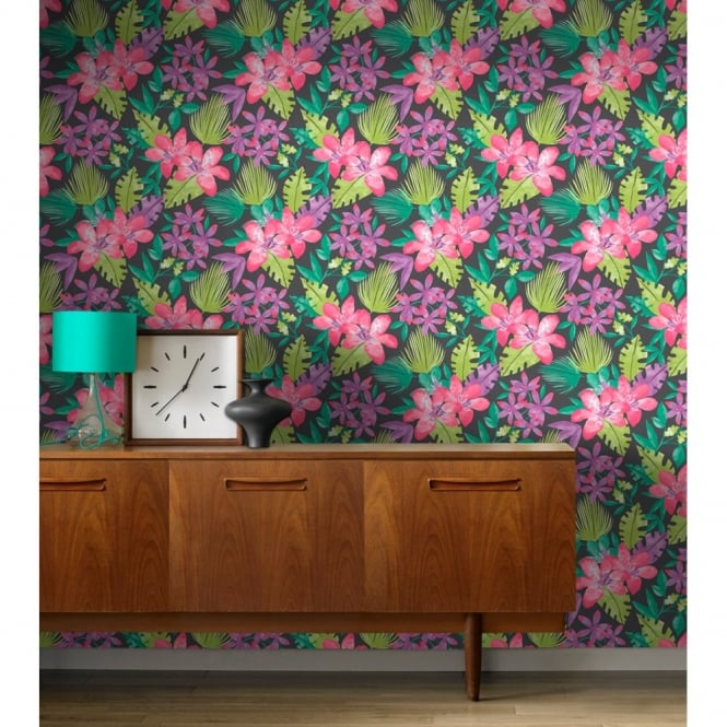 Rasch Paradise Flowers Pattern Tropical Floral Leaf Motif Wallpaper 209129