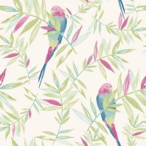 Rasch Parrots Bird Pattern Tropical Leaf Leaves Painted Motif Wallpaper 209204