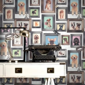 Rasch Puppy Love Dogs In Frames Pattern Picture Frame Motif Wallpaper 272703