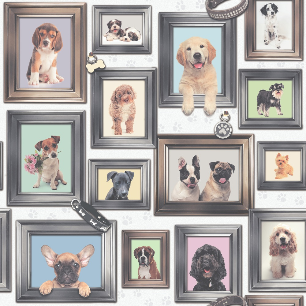Rasch Puppy Love Dogs In Frames Pattern Picture Frame