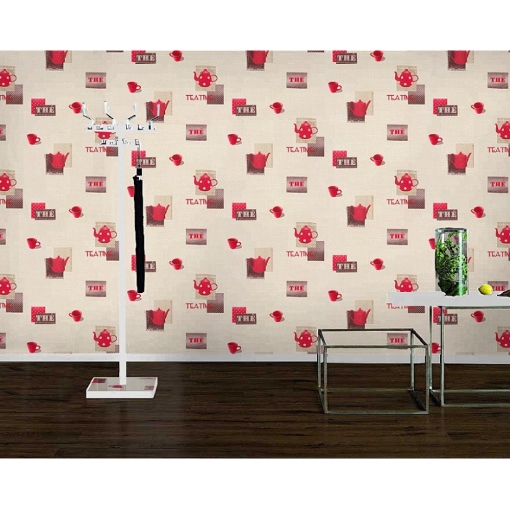 Rasch apples vinyl kitchen wallpaper 824506 cream cut price - Kitchen Wallpaper With Teapots Creative Ideas For Your Home Design