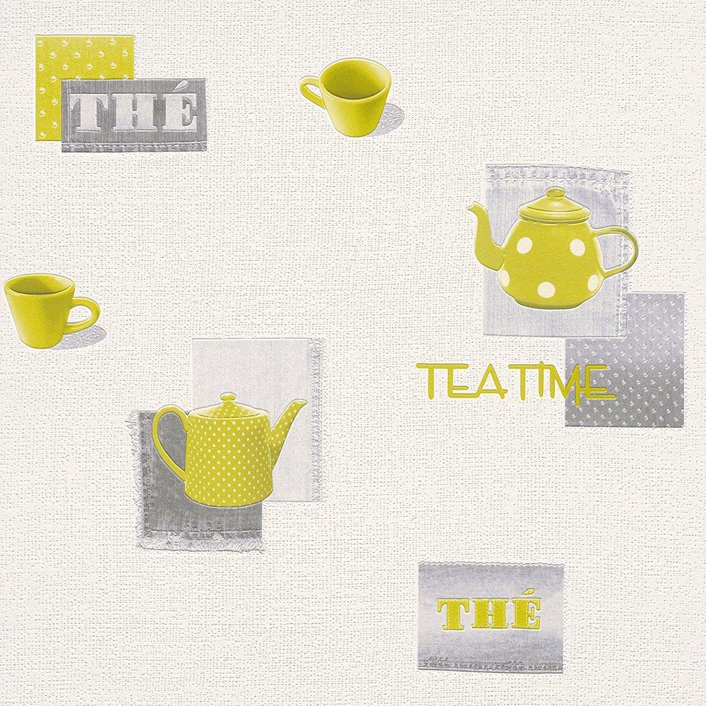 Kitchen Wallpaper Coffee: Rasch Teatime Teapot Coffee Cup Polka Vinyl Kitchen