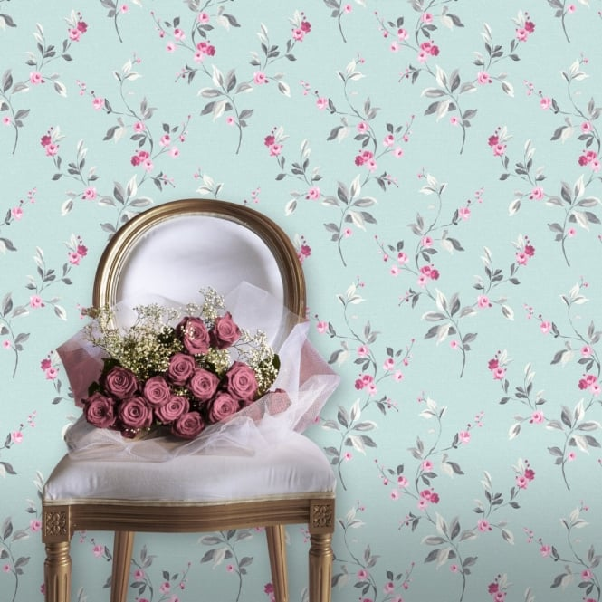 Rasch Tivoli Floral Leaf Pattern Flower Metallic Motif Wallpaper 209334