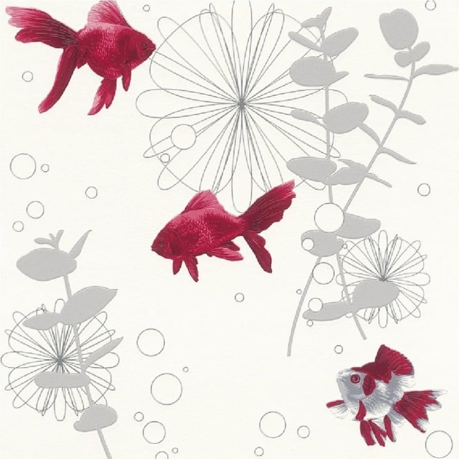 Rasch Red Fish Motif Wallpaper 817539