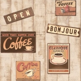 Rasch Retro Coffee Shop Pattern Wood Effect Embossed Vinyl Wallpaper 854404