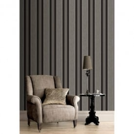 Rasch Roma Striped Pattern Metallic Stripe Motif Textured Wallpaper 208726