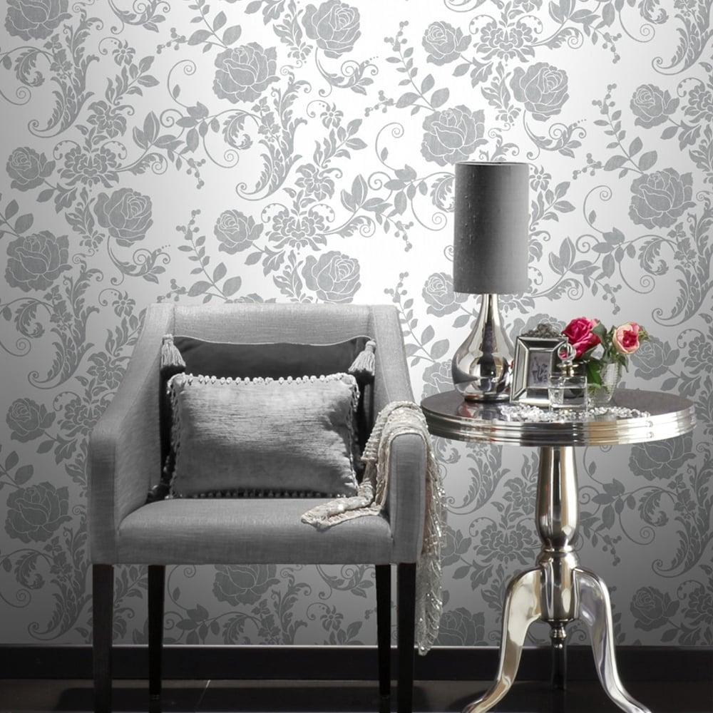 Rasch Rose Flower Pattern Wallpaper Metallic Floral Leafglitter 308419