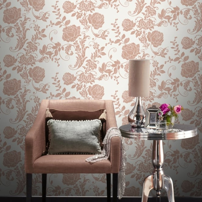 Rasch Rose Flower Pattern Wallpaper Metallic Floral Leaf Glitter Motif Textured 308426