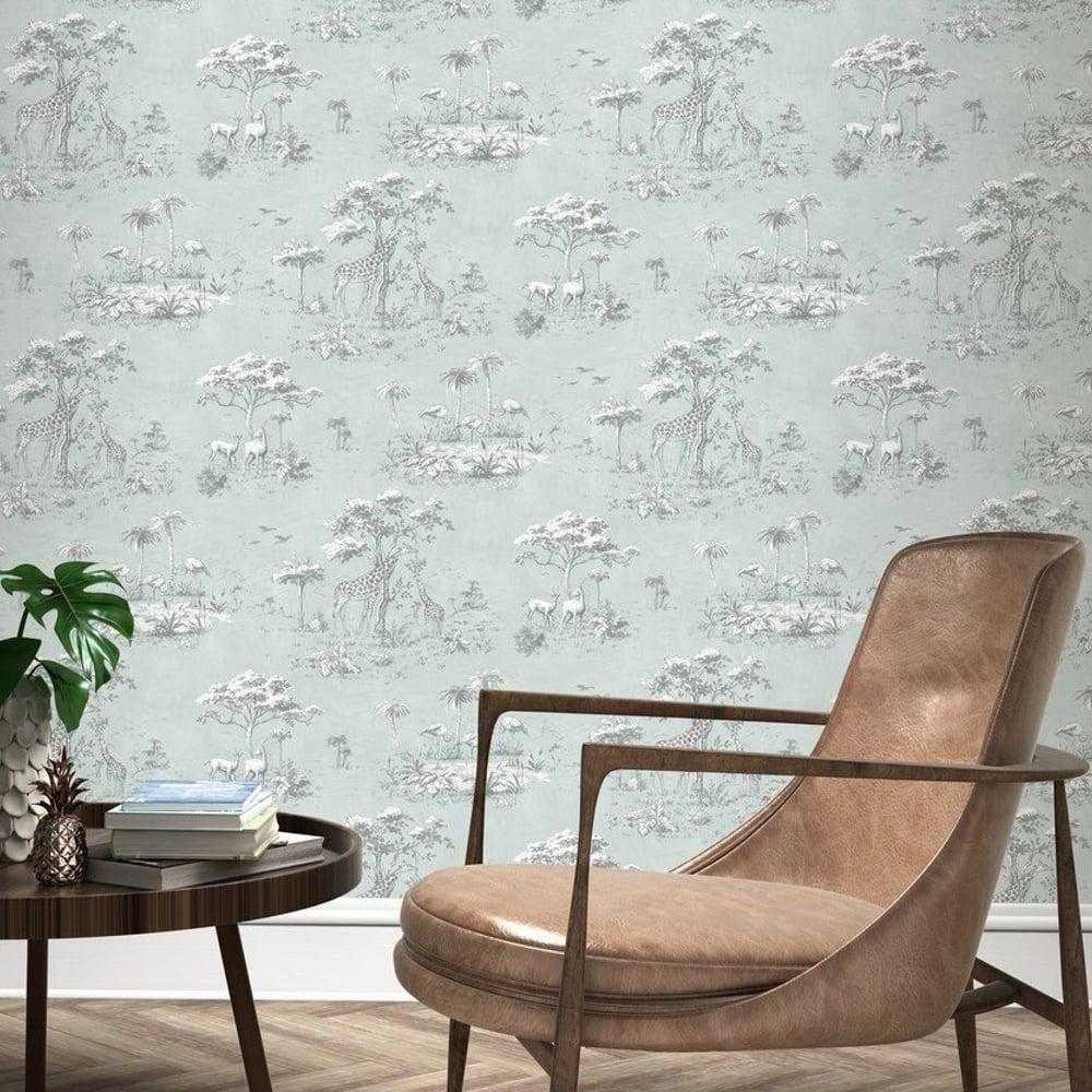 Rasch Safari Animals Pattern Wallpaper Giraffe Flamingo Motif Textured 219135