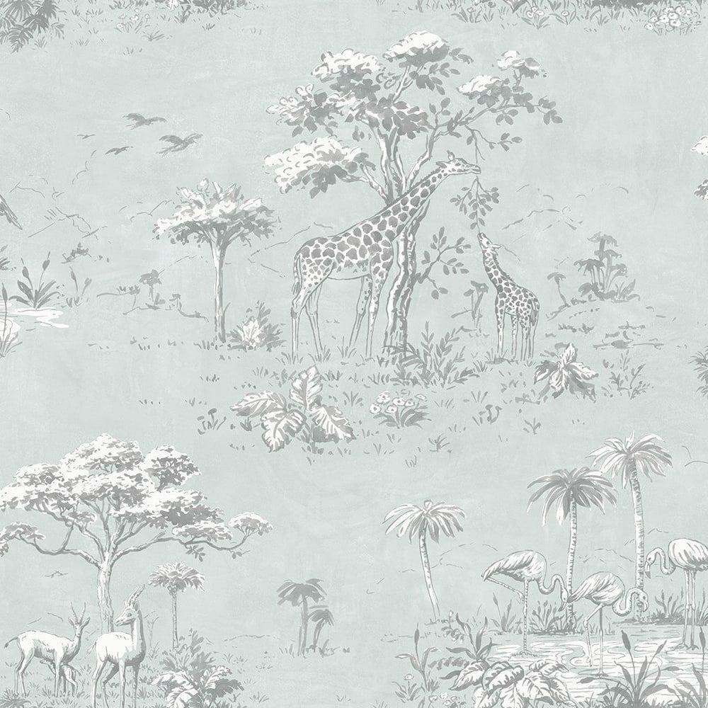 Safari Animals Pattern Wallpaper Giraffe Flamingo Motif Textured 219135