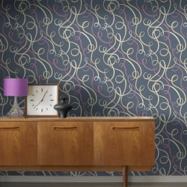 Rasch Scala Ribbon Stripe Pattern Wallpaper Embossed Metallic Glitter Motif 304220