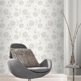 Rasch Sienna Floral Motif Flower Pattern Glitter Embossed Textured Wallpaper 304817