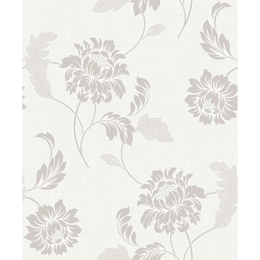Rasch Sienna Floral Motif Flower Pattern Glitter Embossed Textured Wallpaper 304817