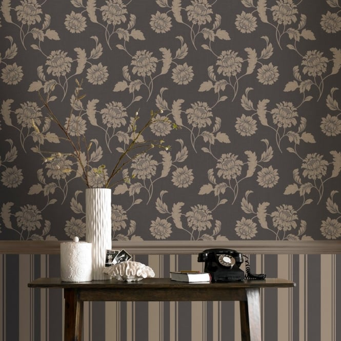 Rasch Sienna Floral Motif Flower Pattern Glitter Embossed Textured Wallpaper 304824