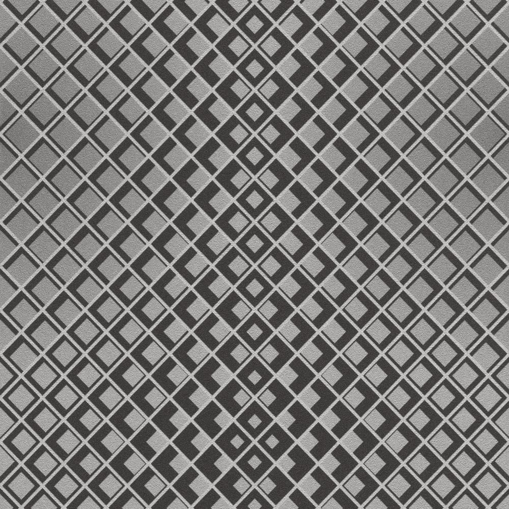 Rasch Square Metallic Silver Black 3D Effect Non Woven Textured Wallpaper