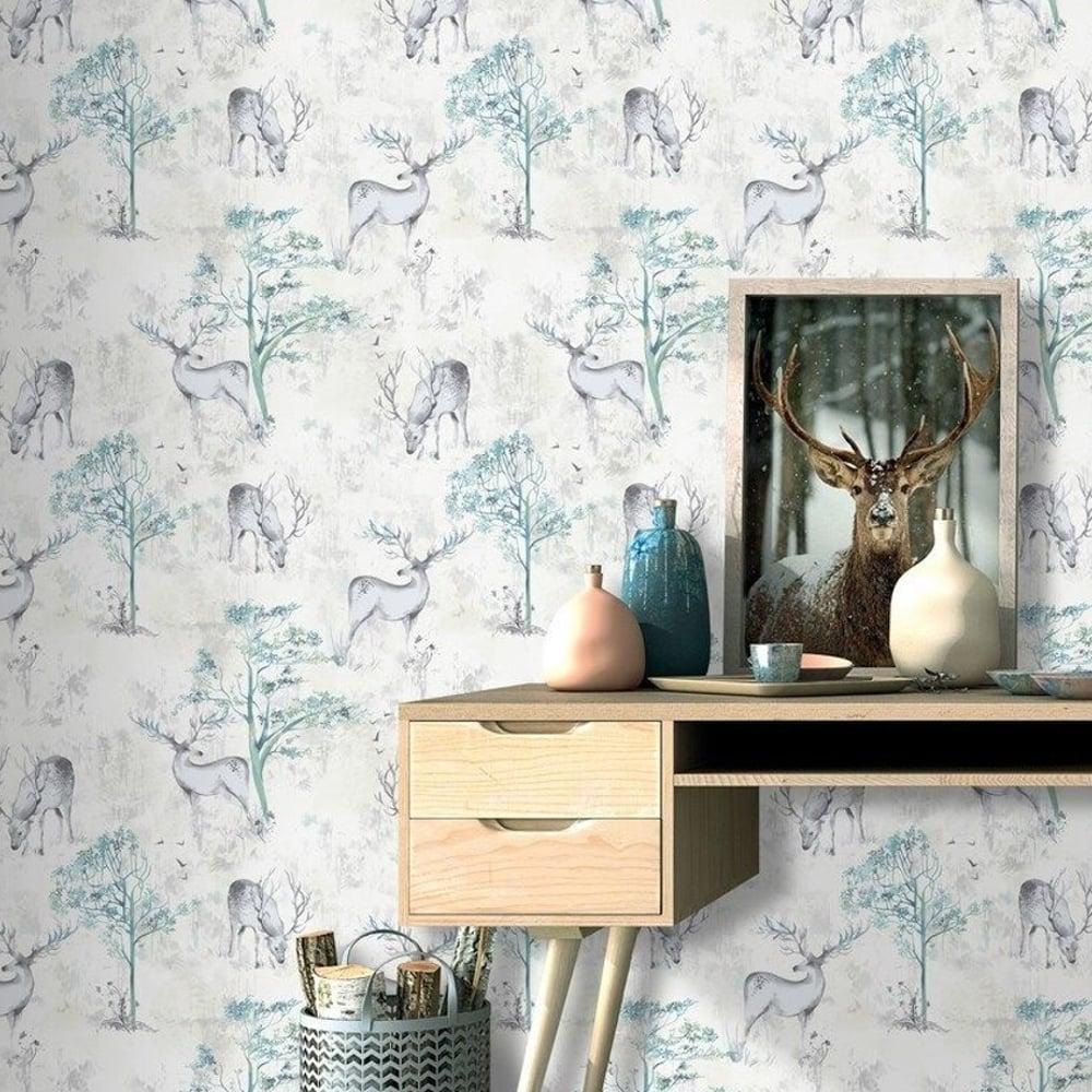 Rasch Stag Forest Pattern Wallpaper Metallic Woodland Motif 219241