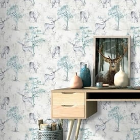 Rasch Stag Deer Forest Pattern Wallpaper Metallic Woodland Motif Textured 219241