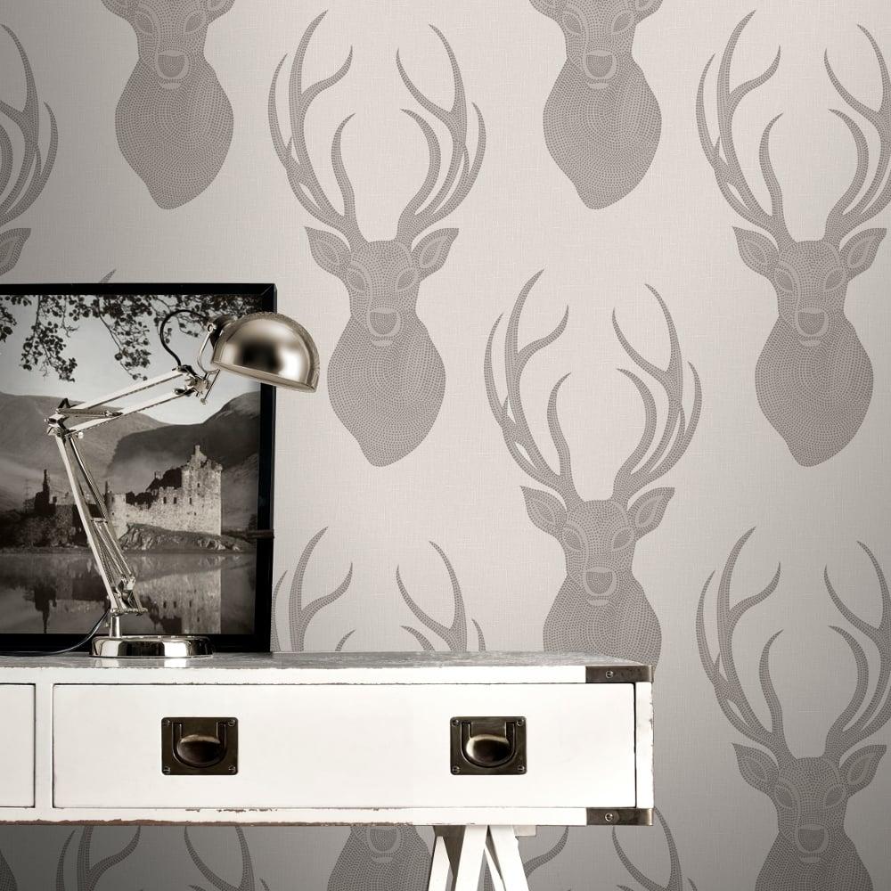 rasch stag head pattern wallpaper modern metallic glitter motif 273700