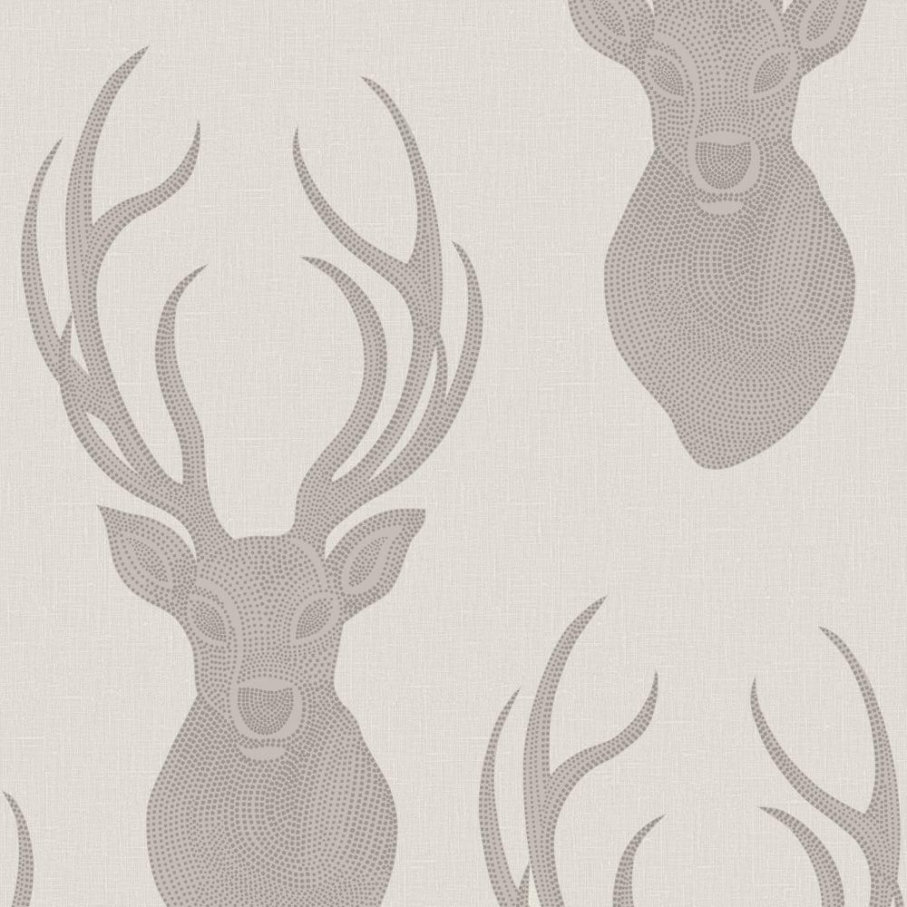 Rasch Stag Head Pattern Wallpaper Deer Modern Metallic Glitter Motif 273700