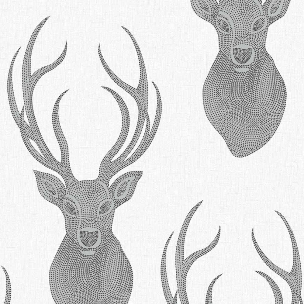 Favorite Rasch Stag Head Pattern Wallpaper Deer Modern Metallic Glitter  ZU59