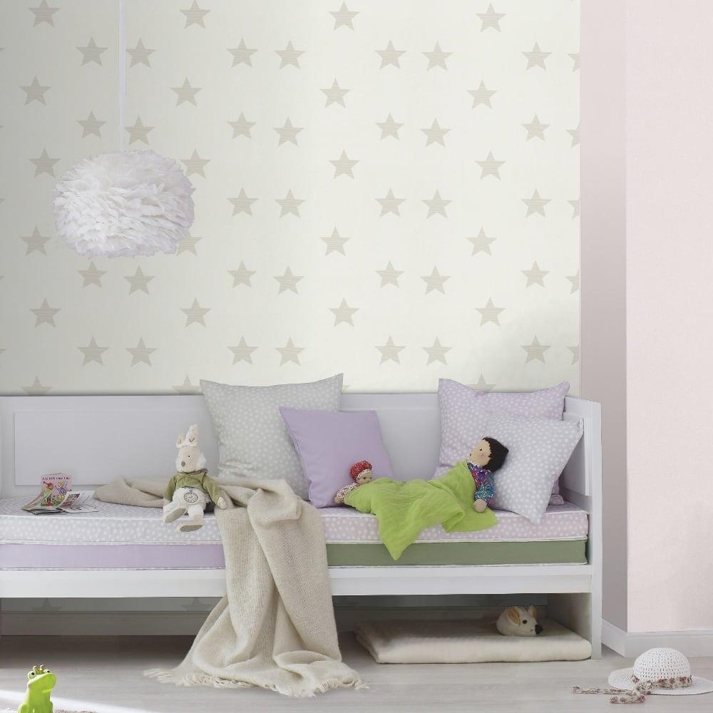 Rasch Star Pattern Childrens Wallpaper Nursery Stripe