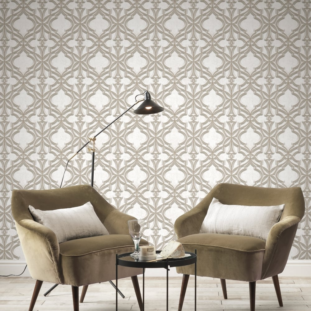 Rasch Stone Damask Pattern Wallpaper Faux Effect 3D Motif Realistic ...