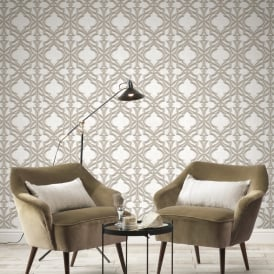 Rasch Stone Damask Pattern Wallpaper Faux Effect 3D Motif Realistic Metallic 282603