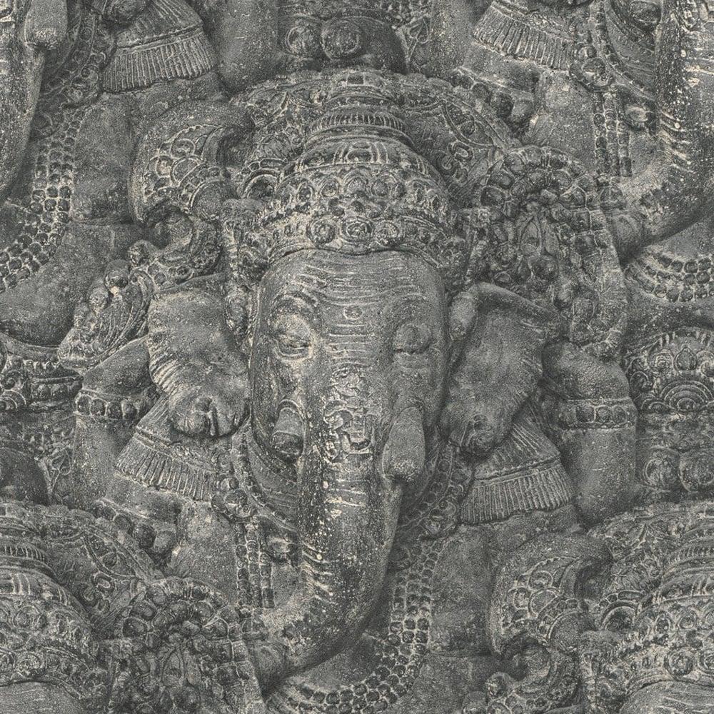 Rasch Rasch Stone Ganesha Photographic Pattern Wallpaper Realistic Faux Effect Elephant 525502