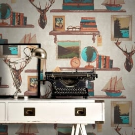 Rasch Study Book Shelf Gold Picture Frame Stag Damask Pattern Wallpaper 228304