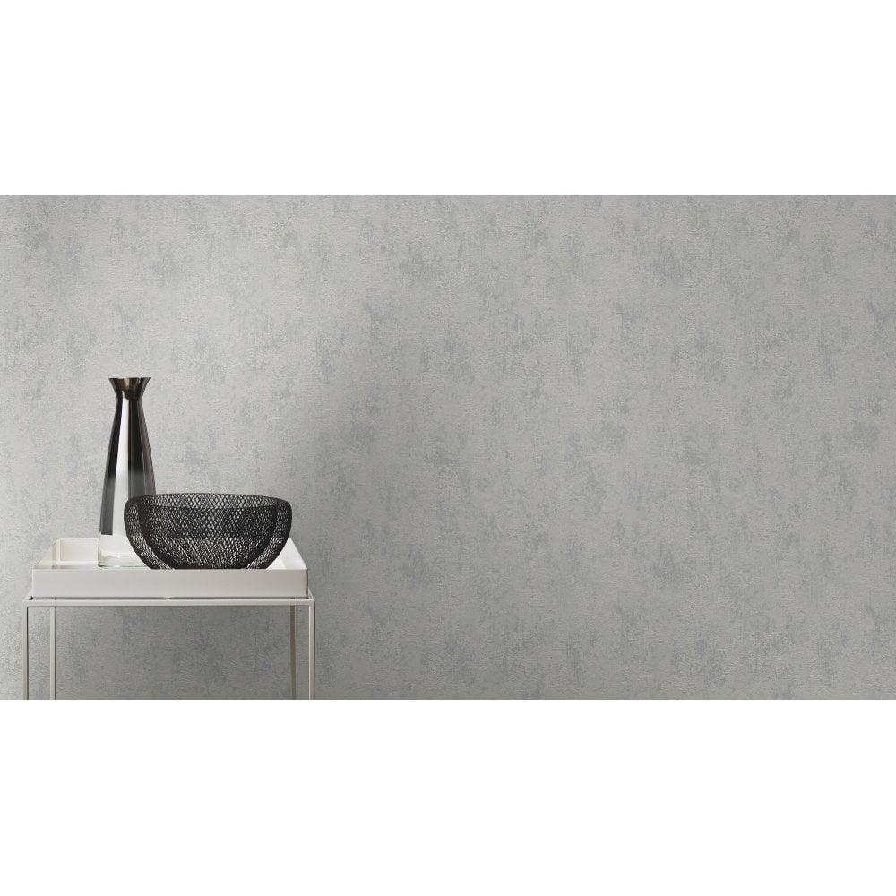 Rasch Tapetenwechsel Grey Silver Metallic Plain Wallpaper Non
